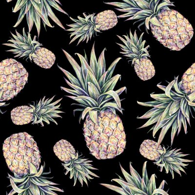 Sticker Pineapples on a black background. Watercolor colourful illustration. Tropical fruit. Seamless pattern