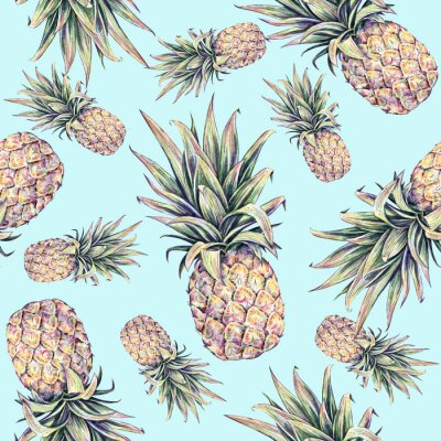 Sticker Pineapples on a light blue background. Watercolor colourful illustration. Tropical fruit. Seamless pattern