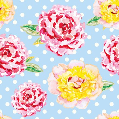 Sticker Pink and yellow peonies on the light blue polka dot background. Watercolor seamless pattern with flowers. Shabby chic.
