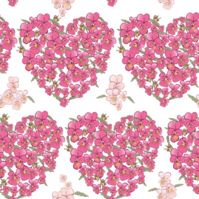 Sticker Pink heart of pansies on a white background. Seamless background