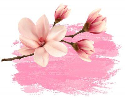 Sticker Pink paint magnolia branch banner. Vector.