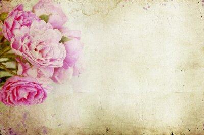 Sticker Pink roses on vintage background