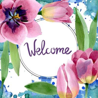 Sticker Pink tulips floral botanical flowers. Watercolor background illustration set. Frame border ornament square.