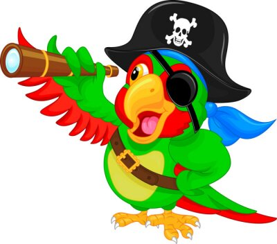 Sticker pirate parrot cartoon