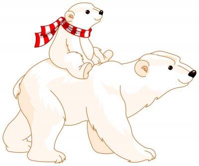 Sticker Polar Bear Mom and Baby