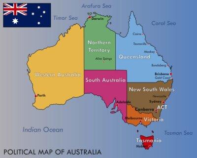 Sticker Political Map of Australia
