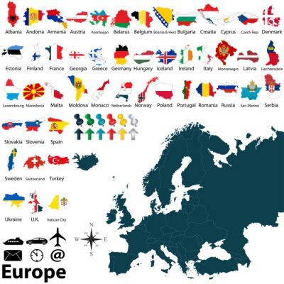 Sticker Political map of Europe