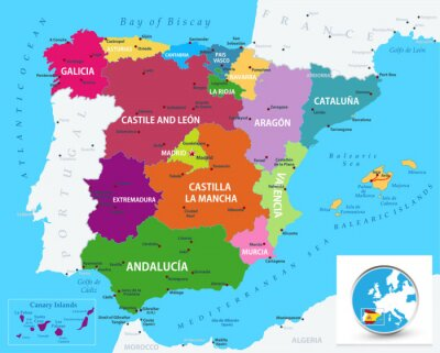 Sticker Political map of Spain