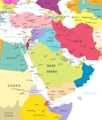 Sticker Political Map of the Middle East And Asia Isolated On White