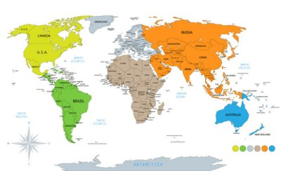Sticker Political world map on white background, with every state labeled and selectable. Colored by continents. Versatile file, turn on an off visibility and color of each country in one click.