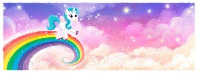 Sticker pony unicornio volando en arcoiris