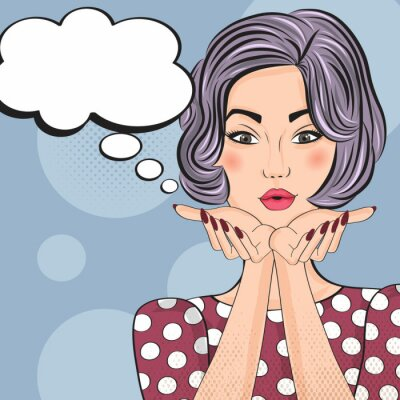 Sticker Pop Art illustration of girl with the speech bubble