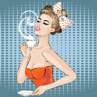 Sticker Pop Art woman portrait with morning cup of tea. Pin-up girl
