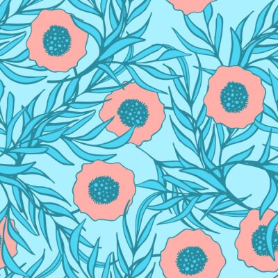 Sticker Poppy flower vector seamless pattern. Hand drawn doodle ink floral textile fabric print. Coral red poppies and blue branch leaves natural design.