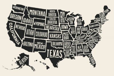 Sticker Poster map of United States of America with state names. Black and white print map of USA for t-shirt, poster or geographic themes. Hand-drawn black map with states. Vector Illustration
