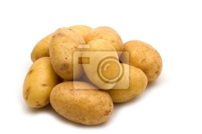 Sticker potatoes on white background
