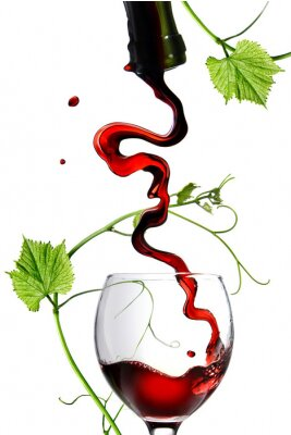 Sticker Pouring red wine in glass with rod isolated on white