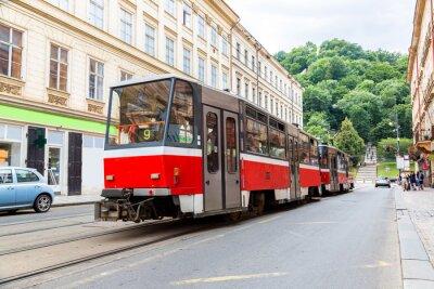 Sticker Prague red Tram detail, Czech Republic