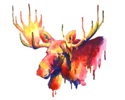 Sticker Psychedelic bright watercolor moose drawing
