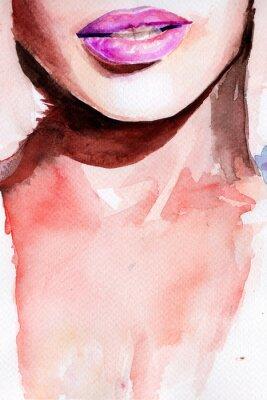Sticker purple lipstick. lips watercolor
