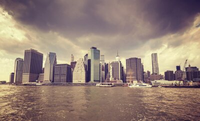 Sticker Purple old film stylized rainy clouds over Manhattan waterfront, NYC.