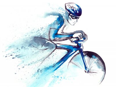 Sticker racing cyclist