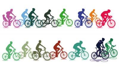 Sticker Radfahren in der Gruppe