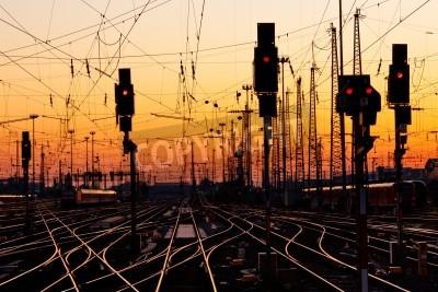 Sticker Railroad Tracks at a Major Train Station at Sunset.