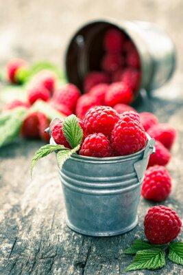 Sticker Raspberries in the small bucket