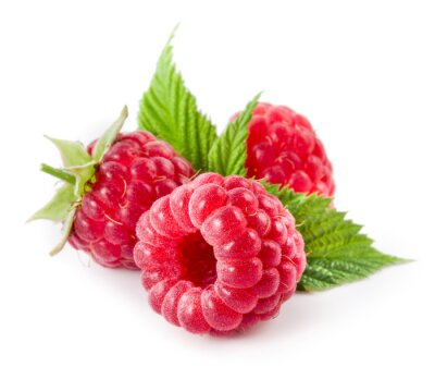 Sticker Raspberries isolated on white