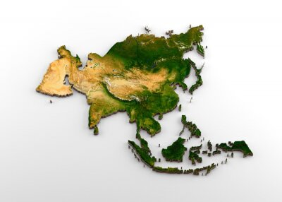 Sticker Realistic 3D Extruded Map of Asian Continent (including Indian sub-continent,East Asia,Russia and Middle-East)