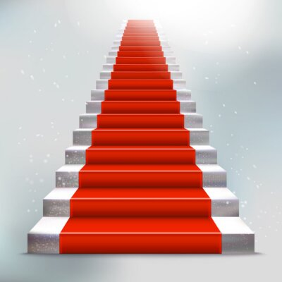 Sticker Realistic stone ladder with red carpet and light