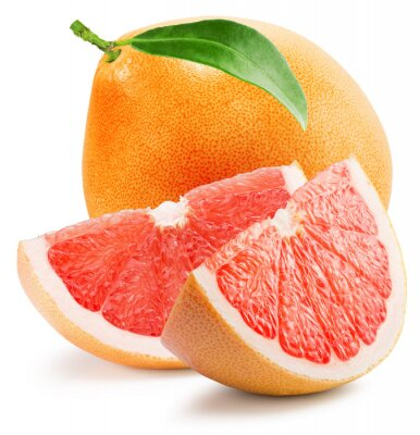 Sticker red grapefruit with slice isolated on the white background