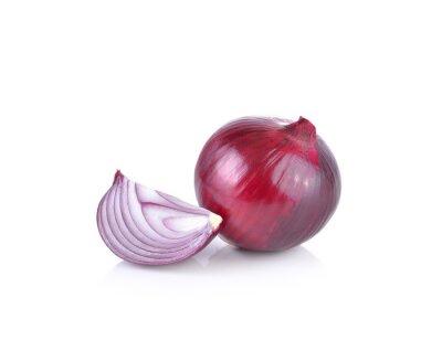 Sticker Red onion on white background