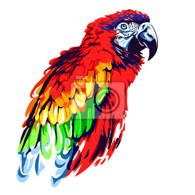 Sticker Red parrot