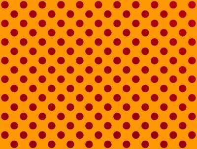 Sticker red polka dot on orange background