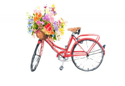 Sticker Red retro bicycle with colorful flowers in basket, watercolor illustrator, bike art, can be used for home decorate