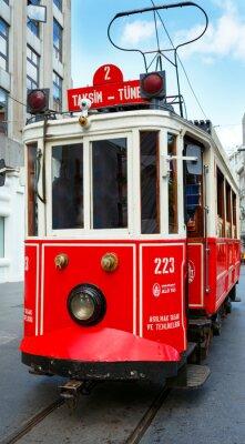 Sticker Red retro tram on Taksim Istiklal Street