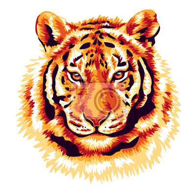 Sticker Red tiger