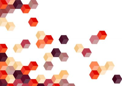 Sticker Red violet cube retro pattern background