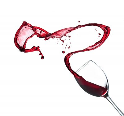 Sticker Red wine splashing from glass, isolated on white background