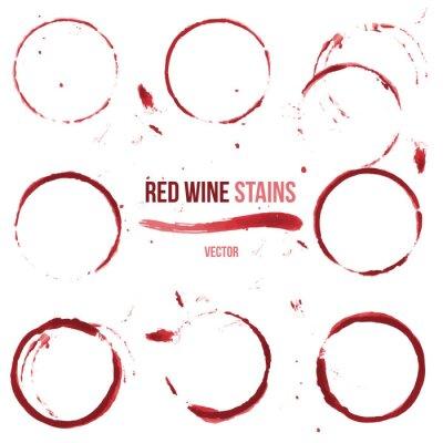 Sticker Red wine stains on white background