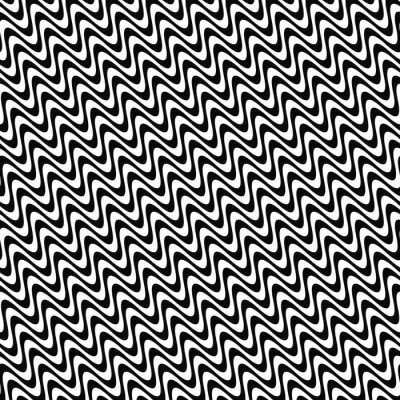 Sticker Repeating black and white wave pattern