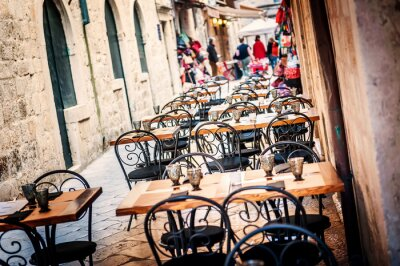 Sticker Restaurant terrace in old town of Dubrovnik in narrow streets