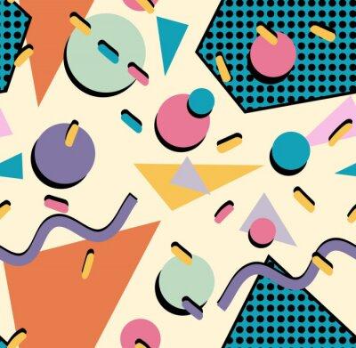 Sticker Retro 80s seamless pattern background