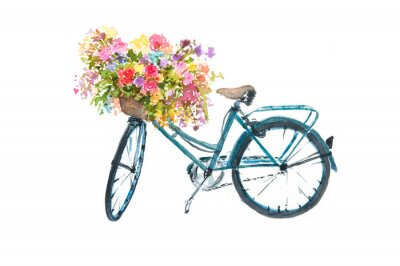Sticker Retro blue bicycle with flower on white background, watercolor illustrator, bike art