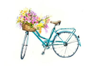 Sticker Retro blue bicycle with flowers in basket on white isolation, watercolor hand drawn on paper