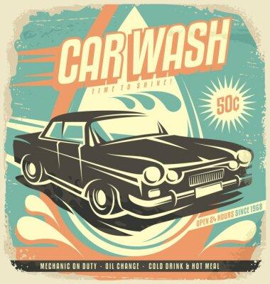 Sticker Retro car wash poster design