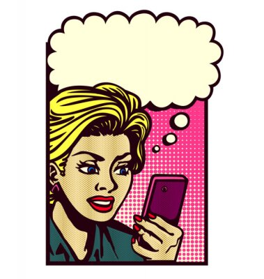 Sticker Retro comic book style woman looking at smartphone, texting, reading text message, sms, and thinking with speech bubble vector vintage pop art illustration