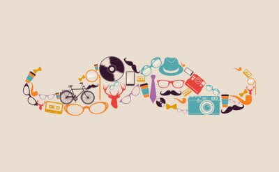 Sticker Retro hipsters icons mustache.